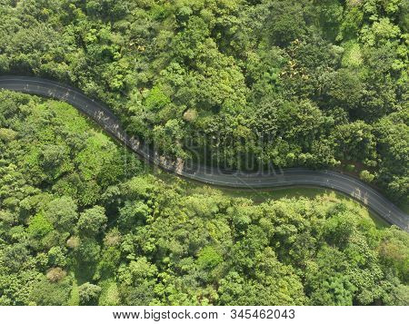 Aerial View Of Asphalt Road In Tropical Forest.winding Road From The High Mountain Pass.top View For
