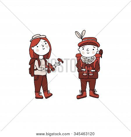 Birdwatching And Ornithology Concept. Young Boy And Girl Bird Watching With Binoculars. Vector Illus