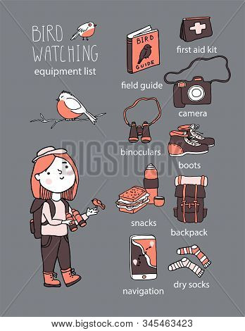 Birdwatching And Ornithology Concept. Young Girl Bird Watching With Binoculars And Feeding A Bird. V