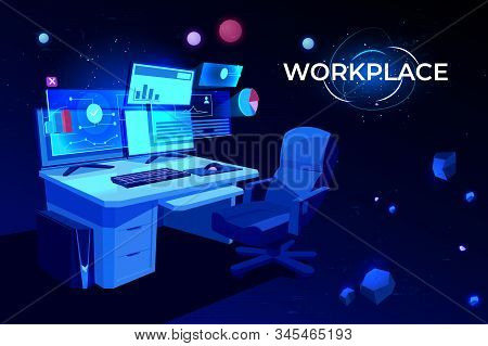 Workplace With Computer Table, Pc Monitors And Armchair, Office Desk Or Home Working Place For Busin