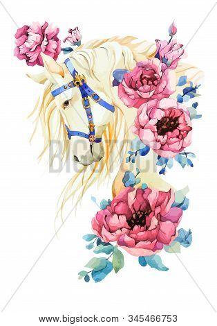 Use For Spring Holliday, Festival, Greeting. Elegant White Horse Vector Stock Illustration With Mane