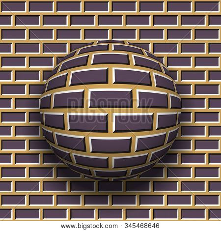 Rotating Sphere Of Brickwork Pattern On Wall Background. Vector Optical Illusion.