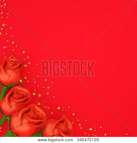 Happy Valentines Day, Valentines Day Background, Rose Flower, Gold Confetti Glitter On Red Backgroun