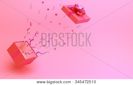 Happy Valentines Day, Valentines Day Background, Opened Gift Box And Confetti On Pink Background, Va