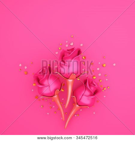 Happy Valentines Day, Valentines Day Background, Rose Flower, Gold Confetti Glitter On Pink Purple B
