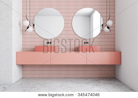Pink And White Bathroom Interior, Double Sink