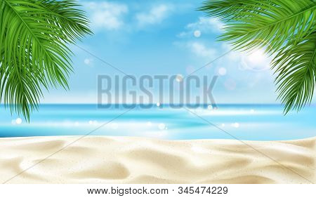 Sea Beach With Palm Tree Leaves Background, Empty Summer Time Landscape, Ocean View With Sandy Coast