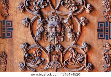 Palermo, Italy: Wooden Carved Door With Myth Person Face In 12th Century Cappella Palatina Of Norman