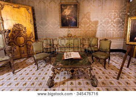 Palermo, Italy: Room For Relaxing With Antique Trellis And Furniture, In Palazzo Alliata Di Villafra