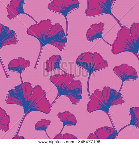 Vector Seamless Pattern Ginko Wax With Purple, Blue Ginkgo Leaves And Pink Background