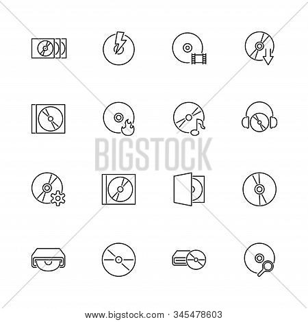 Compact Disk, Cd, Dvd Outline Icons Set - Black Symbol On White Background. Compact Disk, Cd, Dvd Si
