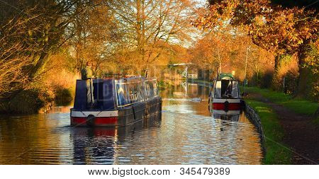 Wrenbury, Cheshire, England - November 30, 2013:   Narrow Boats  On The Llangollen Canal, At Wrenbry