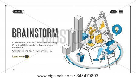 Brainstorm Isometric Landing Page. Man Sitting At Desk, Working On Laptop, Searching Idea. It Compan