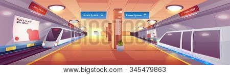 City Rapid Transit System, Modern Railway Underground Station Cartoon Interior With Subway, High-spe