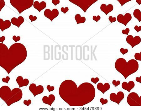 Red Hearts Border Isolated Over White With Copy Space For Your Love Message 3d Illustration