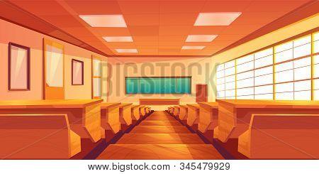 Modern University Auditorium, College Classroom, High School Lecture Hall Cartoon Empty Interior Wit