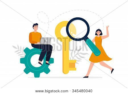 Modern Search Engine Optimization Concept. Web Developers Search For Keywords To Improve Website Pag