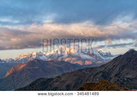 Italy Dolomites Apls. Sunrise In Mountains And Great Autumn Landscape.