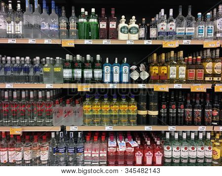 Athens, Greece - November 14, 2019: Bottles Of Vodka Gin Tequila And Rum Alcoholic Beverages Stacked