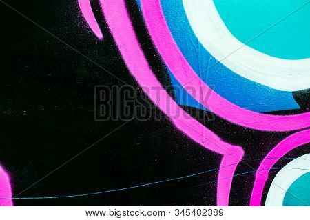 Closeup Of Colorful Urban Wall Texture. Modern Pattern For Wallpaper Design. Creative Urban City Bac