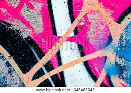 Closeup Of Colorful Urban Wall Texture. Modern Pattern For Wallpaper Design. Creative Urban City Bac