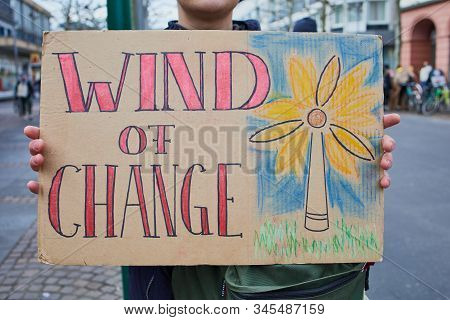 Mainz, Germany -january 17, 2020: Fridays For Future Protest - Participant Is Protesting Against Cli