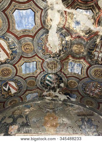 October 2018 Fontanellato, Italy: Ceiling Of Rocca Sanvitale Close-up. Mediaeval Art