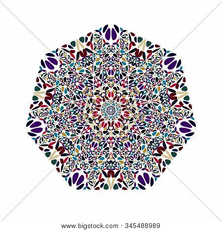 Isolated Flower Ornament Heptagon Polygon - Geometrical Geometric Colorful Vector Element On White B