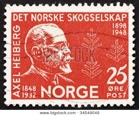 Postage stamp Norway 1948 Axel Heiberg, Norwegian Diplomat