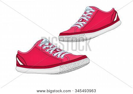 Sports Shoe Isolated On White Background. Running Red Sport Shoes. Sneakers Pair. Pair Red Textile S