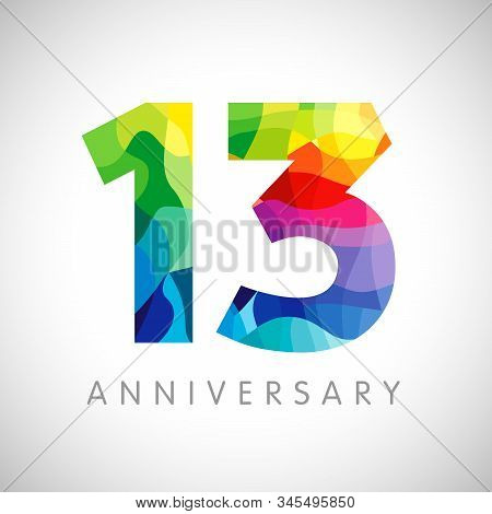 13 Th Anniversary Numbers. 13 Years Old Logotype. Bright Congrats. Isolated Abstract Graphic Web Des