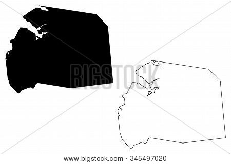 Port Louis District (republic Of Mauritius, Island, Districts Of Mauritius) Map Vector Illustration,