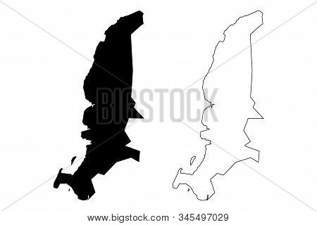 Riviere Noire District (republic Of Mauritius, Island, Districts Of Mauritius) Map Vector Illustrati