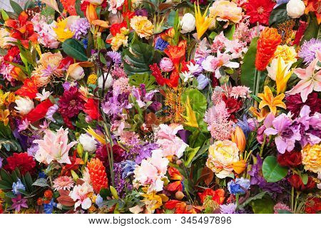 Colorful Artificial Fashion Flowers Background For Wedding, Invitation And Greeting Card, Romantic E