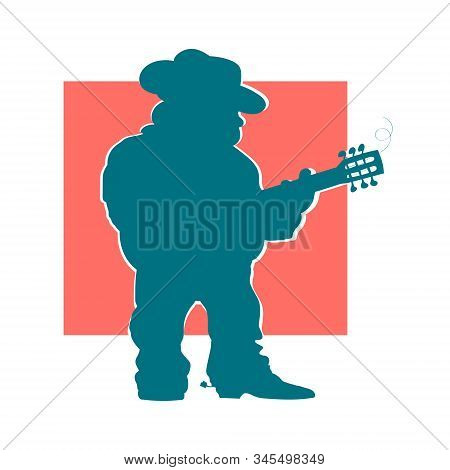 Drawn Cartoon Silhouette Of A Male Guitarist In A Hat On A Red Background.