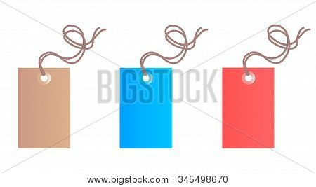 Set Of Three Colored Commodity Tags On A White Fogue.