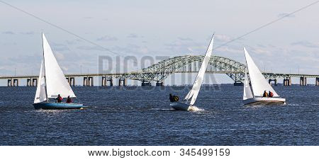 Three Two Person Sailboats Sailing On A Windy December 2019 Afternoon In The Waters Of The Great Sou