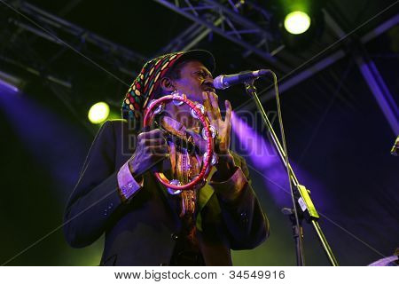 LOULE, PORTUGAL - JUNE 29: Cheikh L�´ performs onstage in a world music festival at festival med on June 29, 2012 in Loule, Portugal.