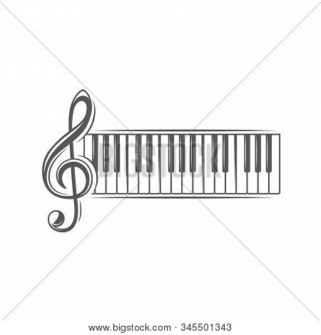 Treble Clef And Piano Keyboard