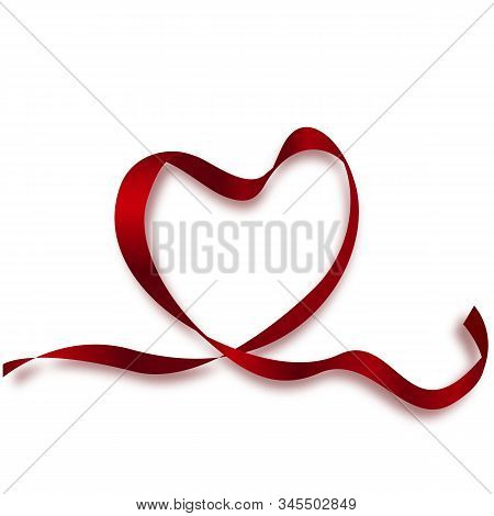 World Heart Day Background. Realistic Satin Ribbon Heart With World Heart Day Label. Vector Illustra