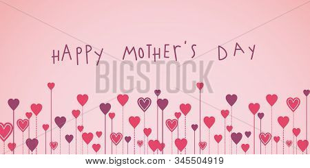Happy Mothers Day Growing Hearts Illustration Banner