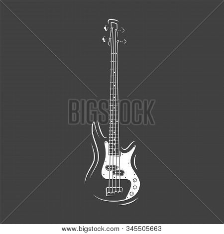 Guitar Silhouette Isolated On A Black Background