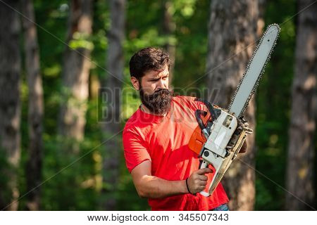 Lumberjack Worker With Chainsaw In The Forest. Lumberjack In The Woods With Chainsaw Axe. Lumberjack
