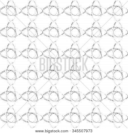 Grunge Abstract Ornament Seamless Texture. Distress Brush Monochrome Painted Circles Endless Pattern