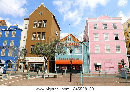 25 March, 2018, Willemstad. Curacao. Colorful Buildings. Beautiful View Of Downtown, Netherlands Ant