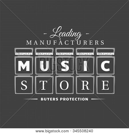 Music Label Isolated On Black Background
