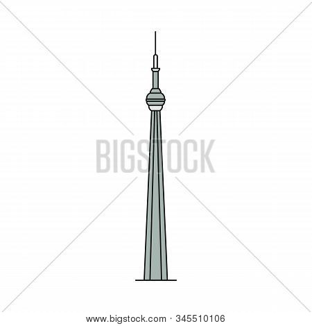Toronto Famous Cn Tower Silhouette Or Icon Sketch Vector Illustration Isolated.