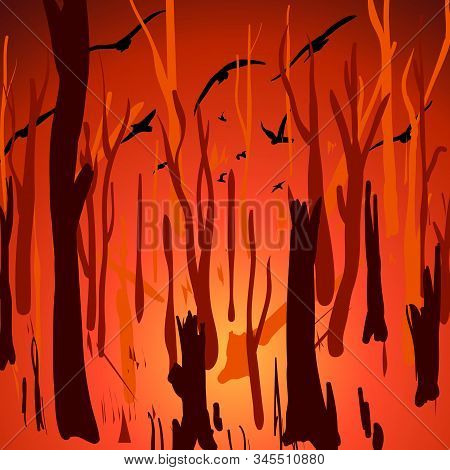 Landscape With Wildfire In Australia And Flying Birds. Vector Cartoon Illustration