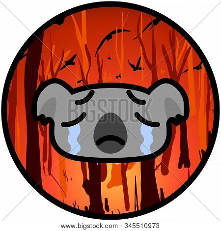 Weeping Koala Icon On A Burning Australian Forest Background. Vector Cartoon Illustration