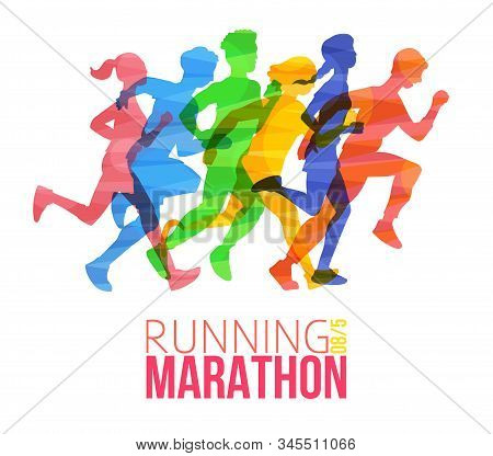 Running Marathon Poster With Colorful Runner Silhouettes.